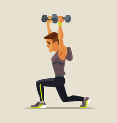 strong sport man character doing lifting exercises vector image vector image