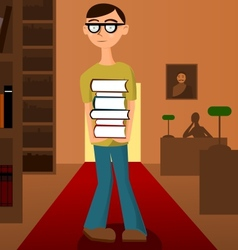 Student with pile of books in the library vector