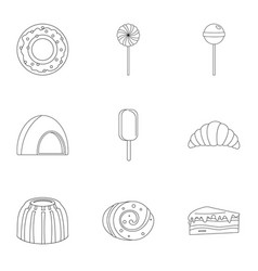 Sweets icon set outline style vector
