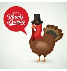 Turkey and hat of thanks given design vector