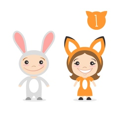 two happy cute kids characters Boy in rabbit or vector image