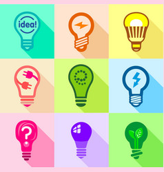 Types of creative bulbs icons set flat style vector