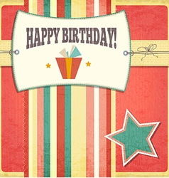 Vintage retro happy birthday card vector image