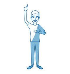 Young man standing gesturing character person vector
