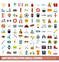 100 recreation skill icons set flat style vector