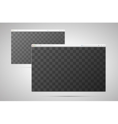 Two browser windows with transparent place for vector image