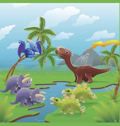 cartoon dinosaurs scene vector image