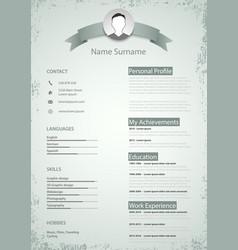 Professional colored resume cv in retro style vector