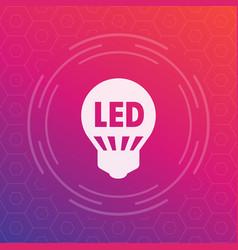 led light bulb icon energy saving technology vector image
