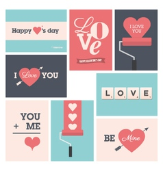 set valentine cards vector image