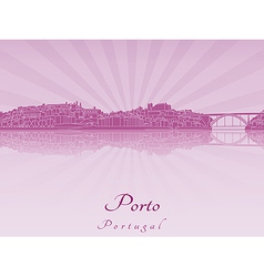 Porto skyline in purple radiant orchid vector