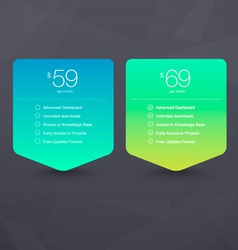 Two Pricing Tables vector image