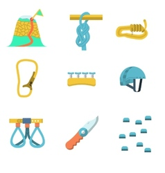 Flat color icons for climbing outfit vector