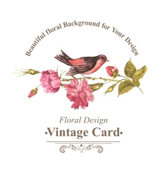 Floral bouquet with roses and bird vintage card vector
