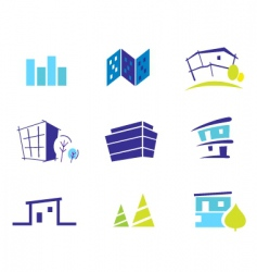 Real estate and nature icons vector