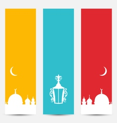 Set colorful banners with symbols for ramadan vector
