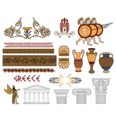 Greece architecture and ornaments color set vector