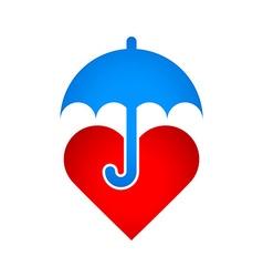 Umbrella protects heart vector