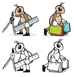 Ant profession architector and shopper vector