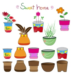 Colorful flowerpots set 2 vector
