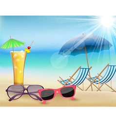 Summertime in beach with drinks and sunglasses vector