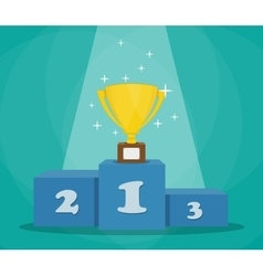 Trophy on sports podium vector