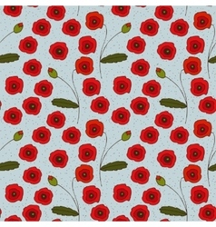 Seamless pattern with poppies flowers and vector