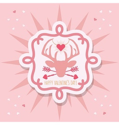 Happy valentines day pink hipster dear emblem vector