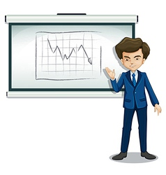 A businessman explaining the graph in the bulletin vector image