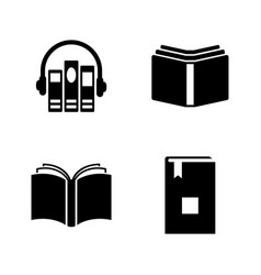 Audio books simple related icons vector