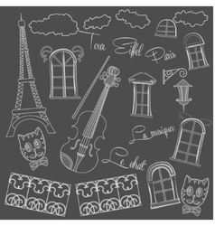 Background with music and city on black chalkboard vector image vector image