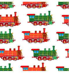 Bright cartoon steam locomotive seamless vector