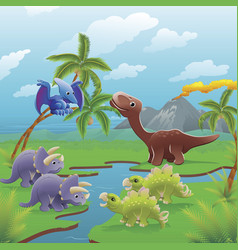 cartoon dinosaurs scene vector image