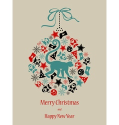 Christmas card Monkey in black-red-green vector image