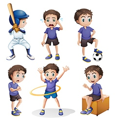 Different activities of a young boy vector image vector image