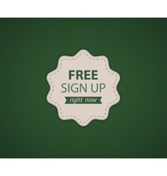 Free SignUp label vector image
