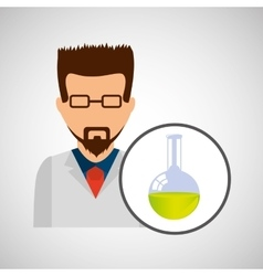Male scientist laboratory flask icon vector