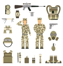 Military symbols design with weapon and uniform vector