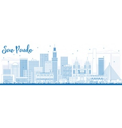 Outline sao paulo skyline with blue buildings vector