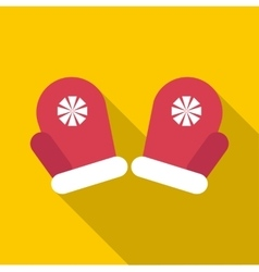 Red winter mittens icon flat style vector