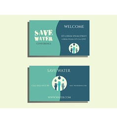Save water conference visiting card template with vector