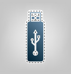 Usb flash drive sign blue icon vector