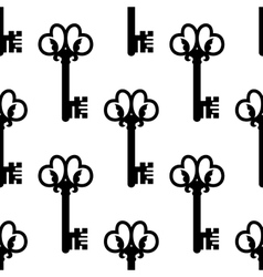 Vintage keys with floral ornament seamless pattern vector