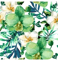 Watercolor floral seamless pattern vector