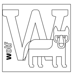 Wolf letter W coloring page vector image