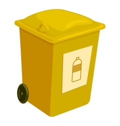 Yellow trashcan icon cartoon style vector