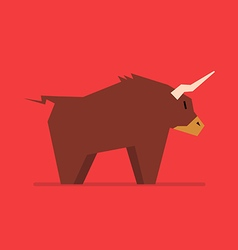 Bull in flat style vector image