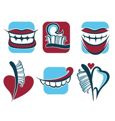 Healthy smile dentist collection vector
