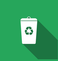 Recycle bin flat icon with long shadow vector