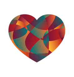 Abstract colorful curve shape love heart vector